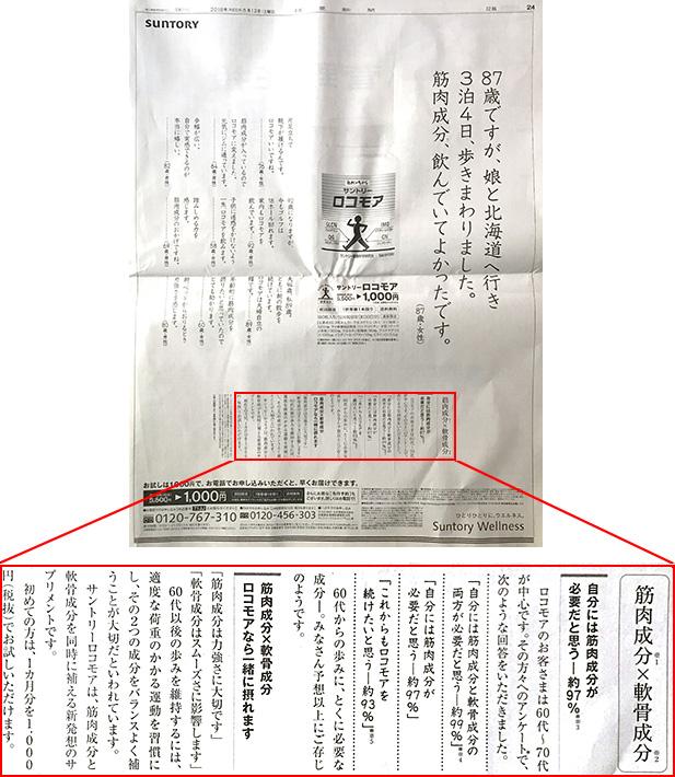 サントリー「ロコモア」新聞広告