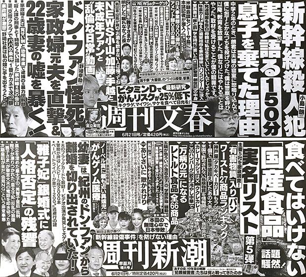 今週の週刊文春・週刊新潮(6月14日)