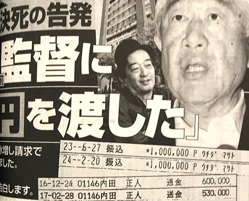 内田前監督への振り込み