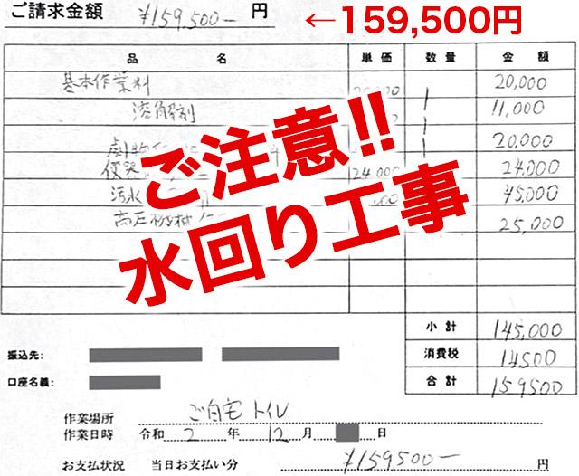 トイレのトラブルで約16万円!
